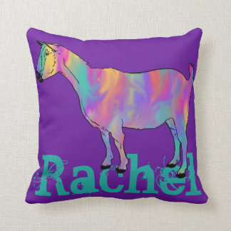 Multicoloured Funny Art Goat Design with Your Name Cushion
