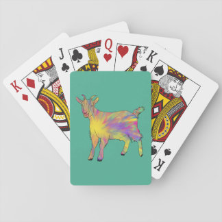 Multicoloured Funny Artsy Goat Animal Art Design Playing Cards