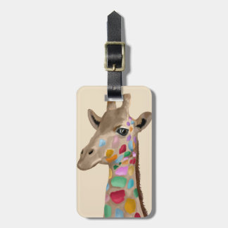MultiColoured Giraffe Luggage Tag
