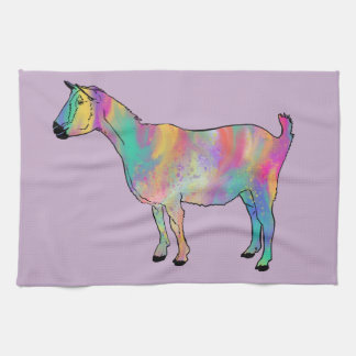 Multicoloured Goat with Paint Splatters Animal Art Tea Towel