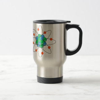Multicoloured nuclear atom travel mug