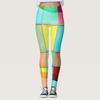 Multicoloured squares leggings