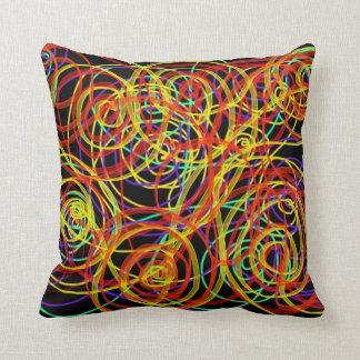 Multicoloured Swirls Indie Abstract Art Design Cushion