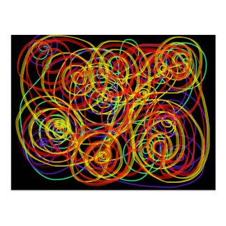 Multicoloured Swirls Indie Abstract Art Design Postcard