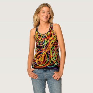 Multicoloured Swirls Indie Abstract Art Design Singlet