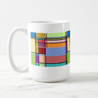Multicoloured texture tiles mug