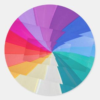 multicoloured  vortex on round sticker