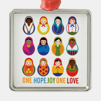 Multicultural Nesting Dolls One Love World Peace Silver-Colored Square Decoration