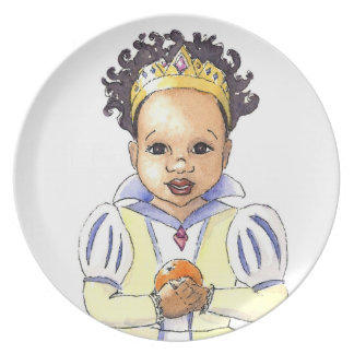 Multicultural Snow White Princess Plate, close up Plate