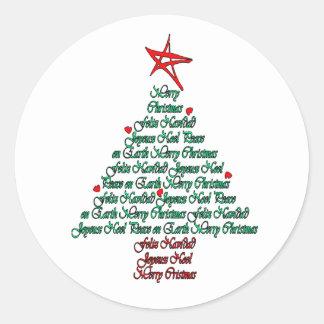 Multilanguage Chistmas Card Feliz Natal Tree Classic Round Sticker
