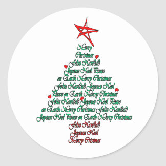 Multilanguage Chistmas Card Feliz Natal Tree Round Sticker