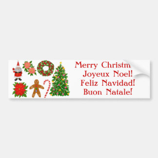 Multilingual Christmas Bumper Sticker