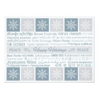 """Multilingual """"Happy Holidays"""" Custom Card 14 Cm X 19 Cm Invitation Card"""