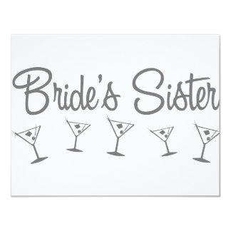 """MultiMartini-BridesSister-grey 4.25"""" X 5.5"""" Invitation Card"""