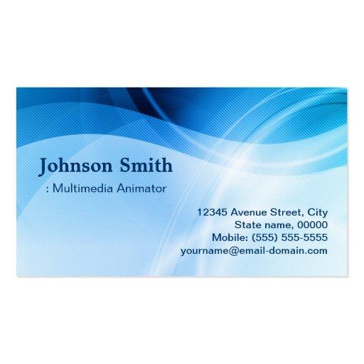 Multimedia Animator - Modern Blue Creative Business Cards