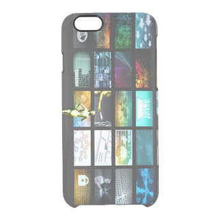 Multimedia Technology with Woman Staring at Screen Clear iPhone 6/6S Case