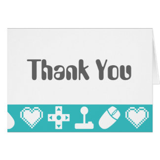 Multiplayer Mode in Turquoise Thank You Card