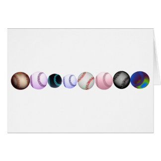 Multiple Baseballs In Diffrent Colors & Styles Card