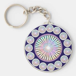 Multiple CHAKRA  -  Sparkle n Live Mandala Basic Round Button Key Ring