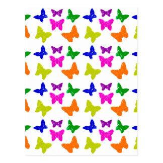 Multiple Colored Butterflies Pattern Postcard