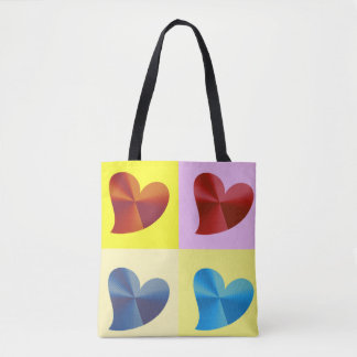 Multiple Colored Hearts Tote Bag