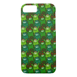 Multiple Cute Little Green Smiling Monsters iPhone 8/7 Case