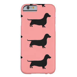 Multiple Dachshund Pattern on Rose background Barely There iPhone 6 Case