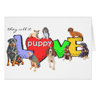 Multiple Dog Breeds Puppy Love Card