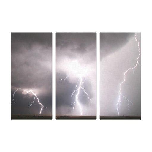 Multiple Lightning Strike Canvas Prints
