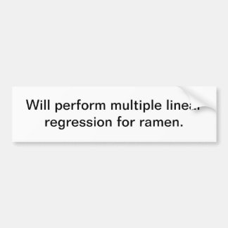 Multiple Linear Regression for ramen Bumper Sticker