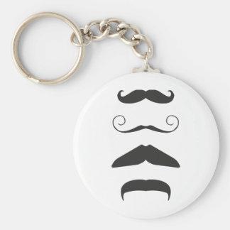 Multiple Moustache Basic Round Button Key Ring