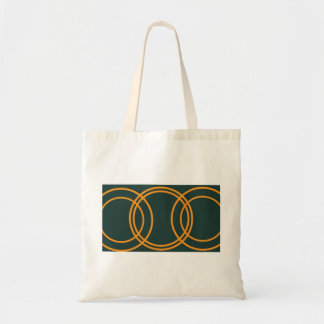 Multiple orange circles emerald green bag