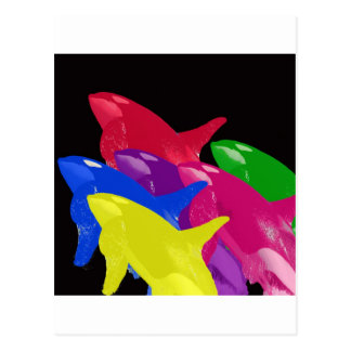 Multiple Orca Whales Multicolored -Reds Ahead Postcard