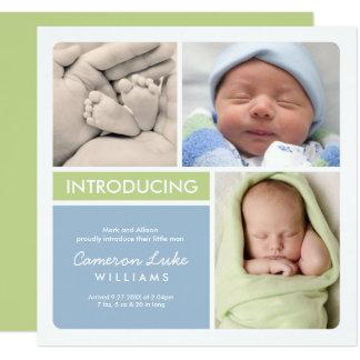 Multiple Photo Birth Announcement | Green Blue
