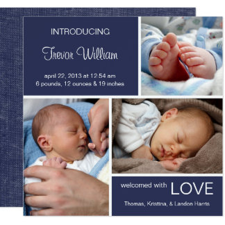 Multiple Photo Birth Announcement//Navy Blue Denim 13 Cm X 13 Cm Square Invitation Card