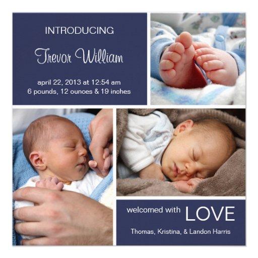 Multiple Photo Birth Announcement//Navy Blue Denim Custom Announcements