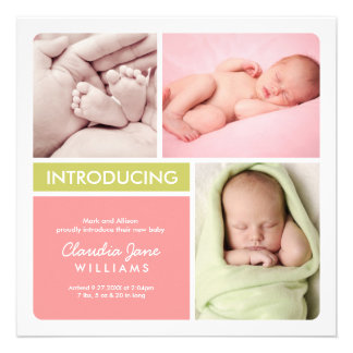 Multiple Photo Birth Announcement Pink Green