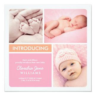 Multiple Photo Birth Announcement | Pink Orange