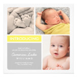 Multiple Photo Birth Announcement   Yellow & Grey