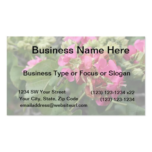 multiple pink flowers with bee neat insect flower business card templates
