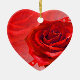 Multiple products with a beautiful red rose ceramic heart decoration