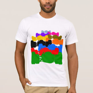 Multiple Psychedelic Vintage Indy Race Car Cutouts T-Shirt
