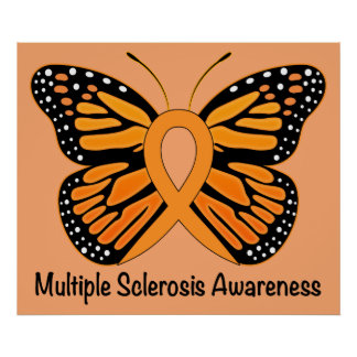 Multiple Sclerosis Awareness Ribbon with Butterfly Poster
