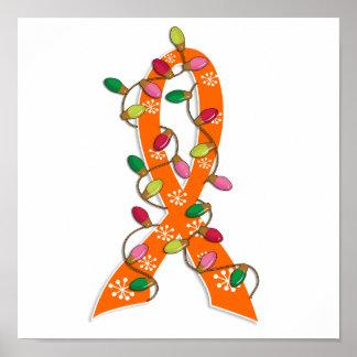 Multiple Sclerosis Christmas Lights Ribbon Poster