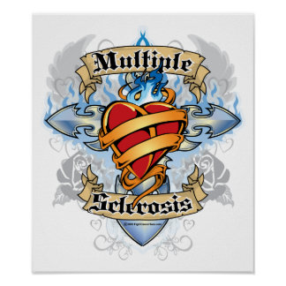 Multiple Sclerosis Cross & Heart Poster