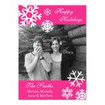 Multiple Snowflakes Christmas Photo Card Hot Pink Custom Invite