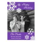 Multiple Snowflakes Christmas Photo Card (Purple)