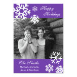 Multiple Snowflakes Christmas Photo Card (Purple) Custom Announcements