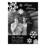 Multiple Snowflakes Christmas Photo Cards (Black) Personalised Announcements