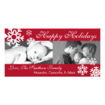 Multiple Snowflakes Christmas Photocard (Burgandy) Customised Photo Card